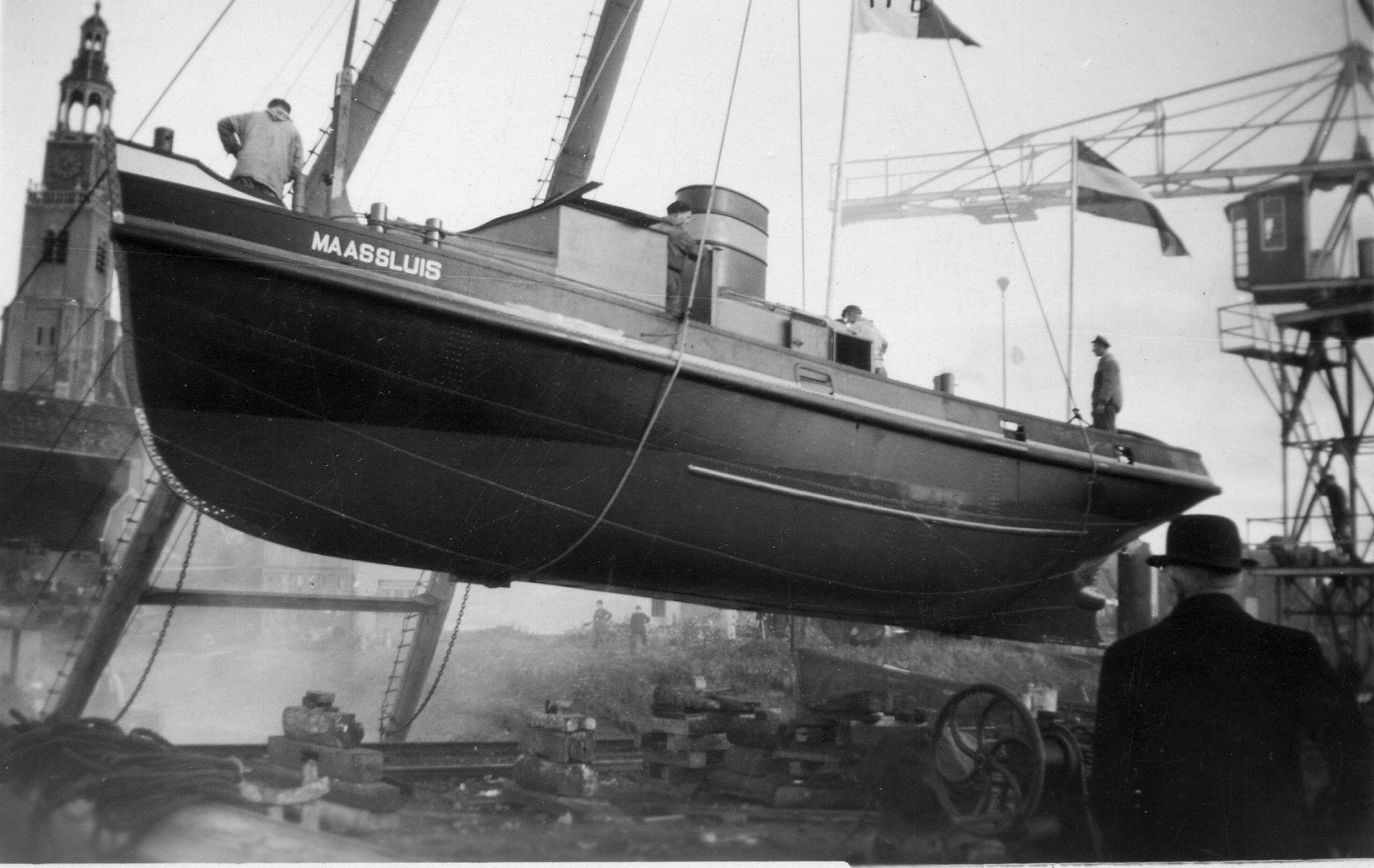 Havensleper Maassluisje tijdens de bouw bij De Haas in Maassluis